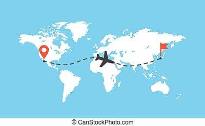 mappa, vettore, worldmap, traccia, pista, tracciato, bianco, mappa, pianeta, linea., aereo, aereo, vuoto, terra, percorso, aeroplano, illustration.