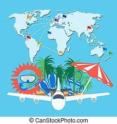 mappa, viaggiare, parola, fondo