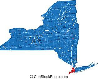 mappa, york, politico, nuovo, stato