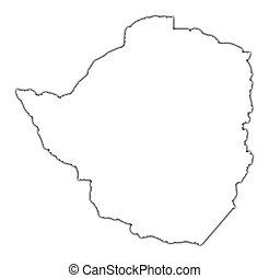 mappa, zimbabwe, contorno