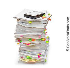 mappar, av, dokument, med, a, hårddisk