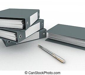 mappar, för, papper, och, penna