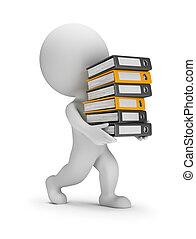 mappar, folk, -, transporter, liten, stack, 3