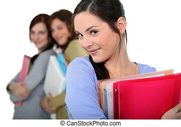mappar, holdingen, deltagare, böcker, attraktiv, kvinnlig