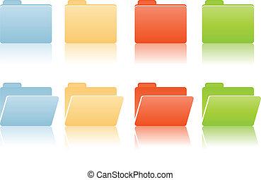 mappar, plats, fil, etikett