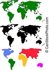 mappe mondo, vettore, set, astratto