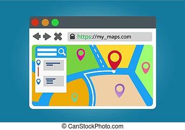 mappe, navigazione, finestra., browser