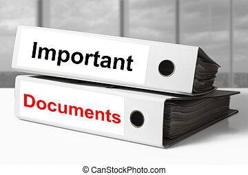mappen, wichtig, dokumente, buero