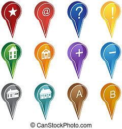 Mapping Location Icon Set - Group of map navigation icons...