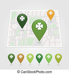 mapping pins icon St. Patrick's Day vector