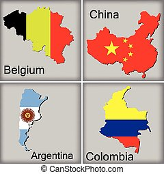 maps of belgium, china, argentina and colombia on grey...