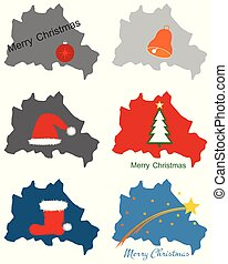 Maps of Berlin with Christmas symbols
