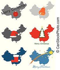 Maps of China with Christmas symbols