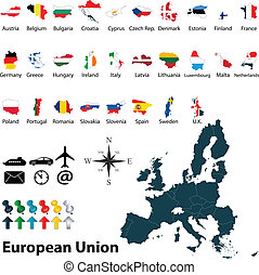 Maps of European Union - Vector of political map of European...