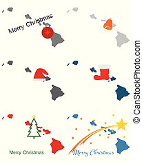 Maps of Hawaii with Christmas symbols