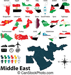 Maps of Middle East - Vector of political map of Middle East...