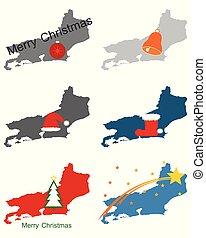Maps of Rio de Janeiro with Christmas symbols