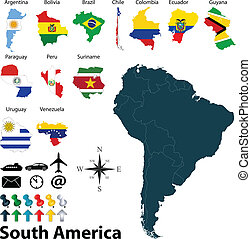 Maps of South America - Vector of political map of South...