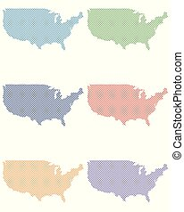 Maps of the USA on simple cross stitch