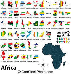 Maps with flags of Africa - Vector of political map of ...