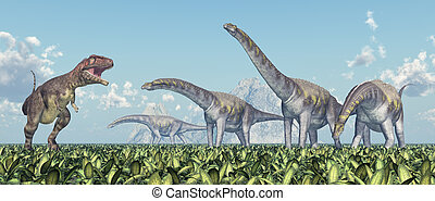 Mapusaurus and Argentinosaurus - Computer generated 3D...