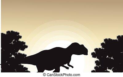 mapusaurus, mooi, silhouettes, landscape