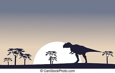 Mapusaurus on the field scenery silhouettes