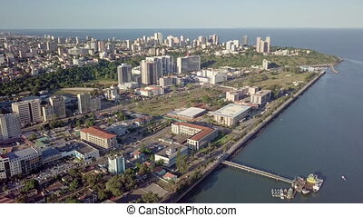 Maputo cityscape from above, capital city of Mozambique, ...
