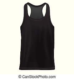 maqueta, camisa, sin mangas, man`s, negro, frente