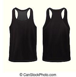 maqueta, camisa, sin mangas, man`s, negro, front+back