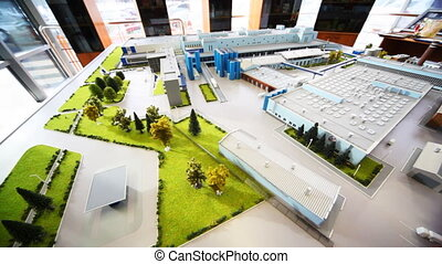 maquette dairy factory on table, panorama left to right