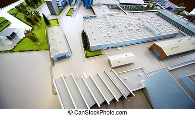 maquette dairy factory on table, panoramic view from top