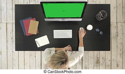 maquette, fonctionnement, display., femme affaires, écran, informatique, vert, bureau.