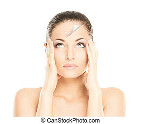 maquiagem, antes de, spa, jovem, woman., concept., retrato, ...