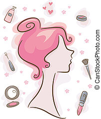 maquiagem, elementos