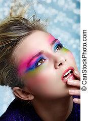 maquiagem, loura