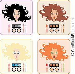 maquiagem, mulheres