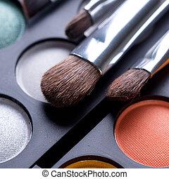maquiagem, sombras, maquilagem, olho, escovas