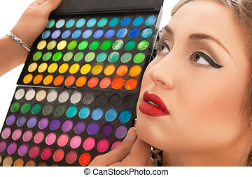 maquilagem, applying., maquiagem, artista, aplicando