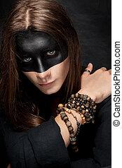 maquilagem, máscara, jovem, pretas, retrato, homem
