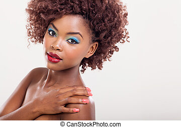 maquilagem, mulher americana, afro, coloridos