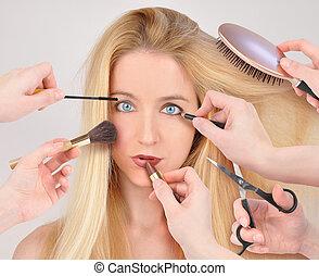 maquilagem, mulher, obtendo, makeover
