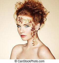 maquilagem, perfeitos, hairstyle., elegante, retrato, outono, mulher