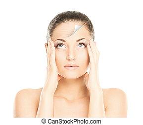 maquillage, avant, spa, jeune, woman., concept., portrait, figure, levage, chirurgie, beau, après