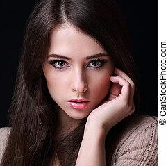 maquillage, closeup, fond, sexy, portrait, woman., noir