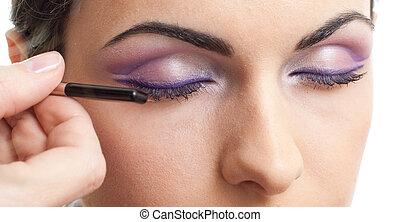 maquillage, contour, les, yeux, routine