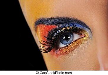 maquillage, de, a, belle femme, oeil