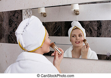 maquillage, demande, miroir