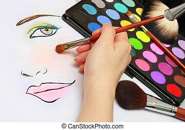maquillage, esquisser