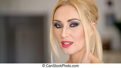 maquillage, femme, joli, blonds, figure